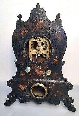 Antique Victorian Iron & MOP Mother Pearl Inlaid Mantle Clock Waterbury