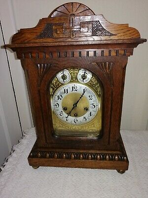 Junghans, Westminster Chimes Bracket Clock in Fantastic Oak Case, Dated 1907.