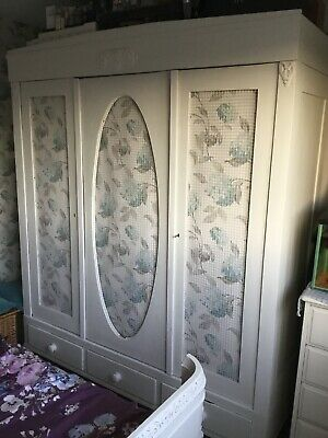 Antique Painted Pine Knockdown Triple Wardrobe