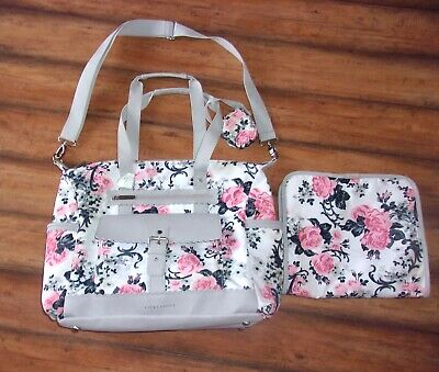 LAURA ASHLEY ~ Garden ROSE Floral Gray & Pink Large Diaper Bag Tote
