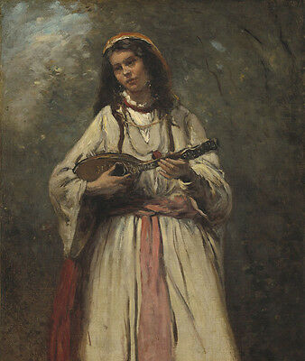 """perfect oil painting handpainted on canvas""""Gypsy Girl With Mandolin""""@N3981"""