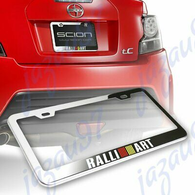 For RALLIART Stainless Steel Black Rust Free License Plate Frame W// Caps Bolts