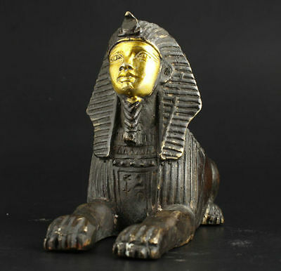 antique Shang Zhou dynasty excellent old bronze Egyptian Pyramids Sphinx statue