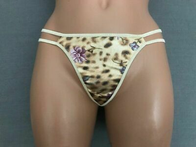 #730 Vtg Shiny Small Floral Liquid Satin Thong Panties Second Skin Wet Look