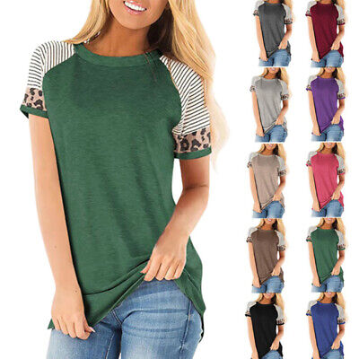 Womens Summer Short Sleeve Leopard T Shirt Crew Neck Tops Casual Loose Blouse US