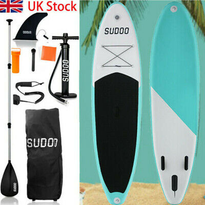 "3 Fins Inflatable SUP Paddle Board 10ft Stand Up Paddleboard Kayak 6"" Thick ak"