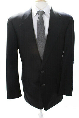Hickey Freeman Mens Two Button Notched Lapel Blazer Blue Wool Pinstripes Size 40