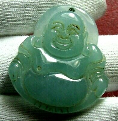 Hand Carved veritable Green Jade Stone SITTING HAPPY BUDDHA Pendant