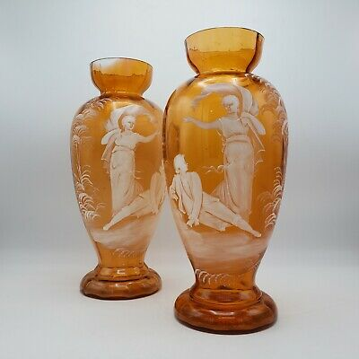 Antique Mary Gregory Orange Glass Vases - Matched Pair