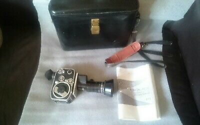 Bolex Paillard Zoom Reflex P2 Wind Up Film Camera With Large Lens & Case