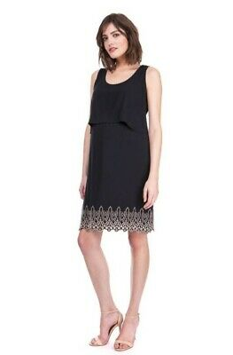 Seraphine Black Stretchy Embroidered Maternity Dress Size 10 Uk Immaculate