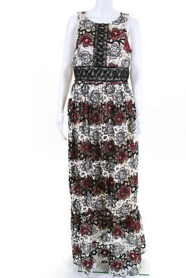ML Monique Lhuillier Womens Gardenia Lace Gown Black White Red Size 14 10898071