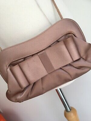1920s Art Deco Style M&S Small Bag Clutch Long Strap Satin Bow Mink Oyster Blush