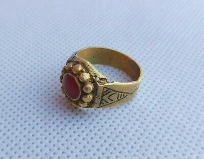 Rare ancient vintage roman bronze ring red stone artifact authentic stunning