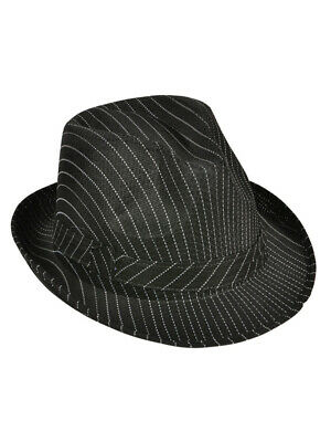 Roaring 20/'s White Pinstripe Fedora Hat Flappers Gangsters Costume Accessory  H1