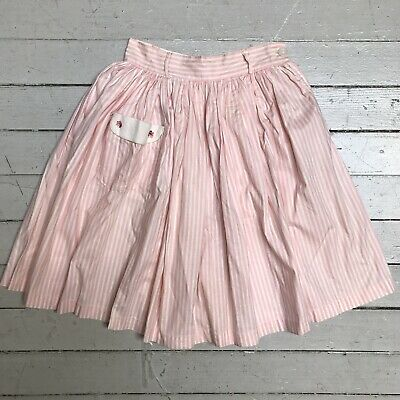Vintage 1950s Cotton Kids Youth Child Girls Pink Striped Full Skirt With Pocket
