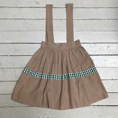 Vintage 1950s Cotton Kids Child Pinafore Jumper Full Skirt Tan With Green Plaid