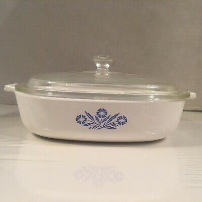 Vintage Corning Ware Blue Cornflower P-9-B 9 inch Baking Dish Casserole with Lid