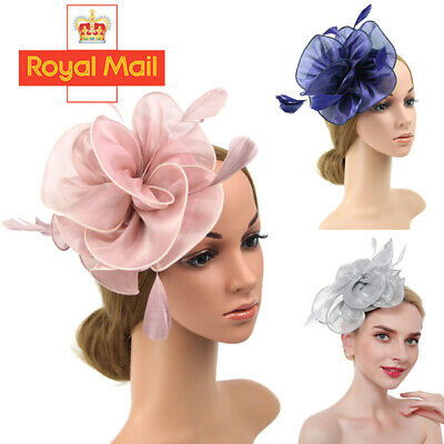 LARGE Feather Flower Hair Hat Fascinator Headband Party Wedding Royal Ascot Race