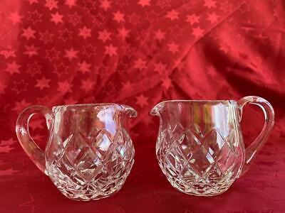 2 Lovely Vintage Diamond Hand Cut Grimwade Crystal Creamer / Milk Jugs