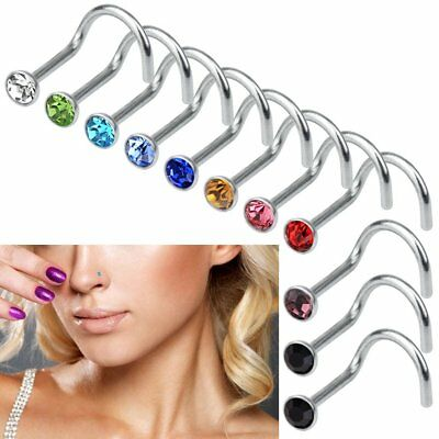 20 Nose Stud Pin Surgical Steel Small Gem Crystal Ring Screw Bar Studs Piercing