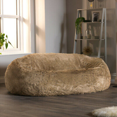 Extra Large Faux Fur Bean Bag Sofa Two Seater Beanbag Mink