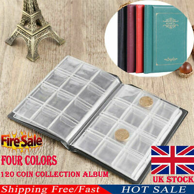 UK New 120 Coin Collection Holders Storage Money Penny Pocket Album Book Folder