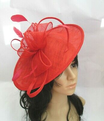 Poppy Red Fascinator.Shaped saucer disc,Wedding..races new