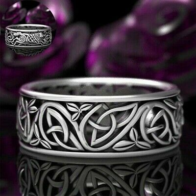 Ring Wolf Men's Wedding 925 Silver  Engagement Celtic VintageBand Knot Jewelry