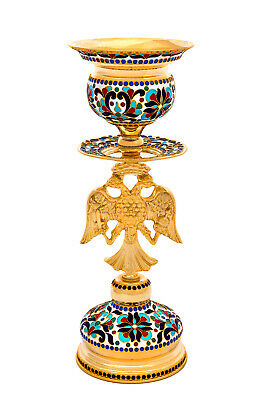 Orthodox Church Byzantine Holy Table altar vigil lamp two-headed Eagle Enamel