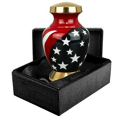 Stars and Stripes Patriots Small Keepsake Urn For Human Ashes - Qnty 1 - w Case