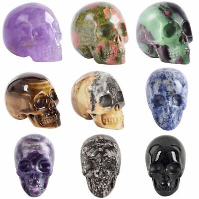 Skull Figurine Natural Stone Crystal Carved Statue Decal Healing Home Ornament