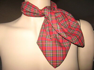 tartan Head Tie Scarf  Red Black White Neck Party Fancy dress  Burns Christmas