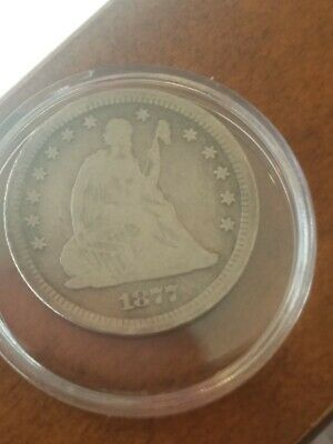 1877-S San Francisco Mint Silver Seated Liberty Quarter. F-VF details