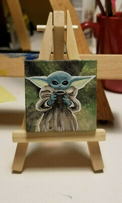 Tiny Paintings Original Artwork Acrylic On Canvas Baby Yoda & other