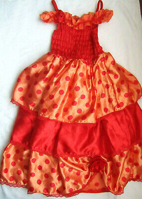 GEORGE Red & Orange Spotted Satin Layered Princess Dress Age 9 10 Years (M3)
