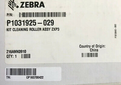 NIB Zebra P1031925-029 Kit Spare Cleaning Roller Assembly ZXP3 - For Printer