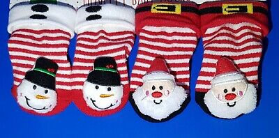 Baby Toddler Socks 2 pairs Newborn Christmas Socks With Bell 0-3 Months UK