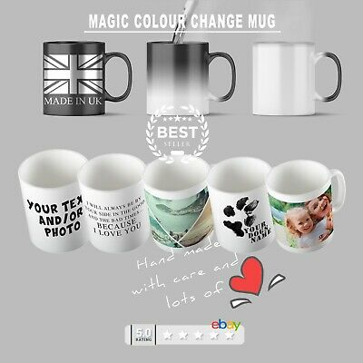 COLOUR CHANGE Mug Personalised black cup heat colour changing coffee tea PHOTO