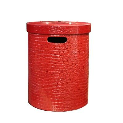 Leather Vinyl Cover Red Round Bucket Container Box Small cs5601B