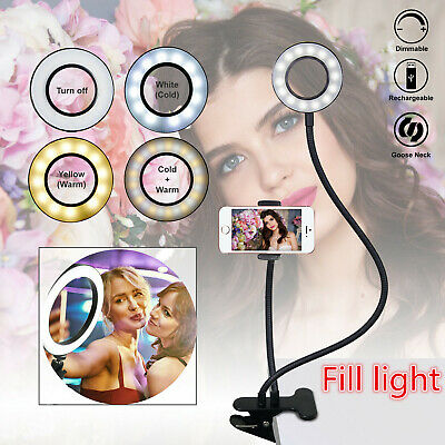 LED Selfie Ring Light with Cell Phone Holder USB Photo Video Studio Makeup Lamp