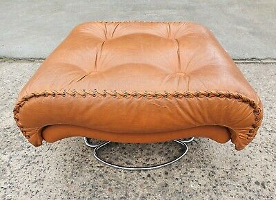 Funky Vintage Chrome And Vinyl Footstool With Bootlace Edges     Free Uk Postage