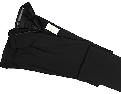 NEW $695 Giorgio Armani Black Label Dress Pants!  US 38 e 56  Black  Flat Front