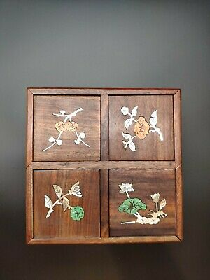 A Rare Chinese Antique Qing Dynasty Rosewood Huali Jewelry Box