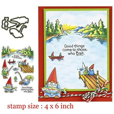 Fishing Gnomes Clear Stamps Coordinating Metal Cutting dies for DIY