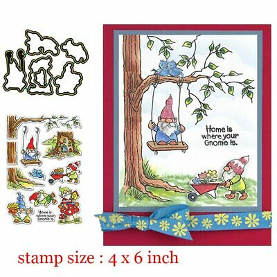 Gnomes Home Clear Stamps Coordinating Metal Cutting dies for DIY Scrapbooking