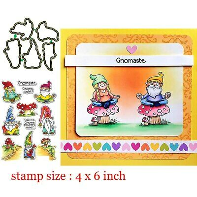 Gnomes Clear Stamps Coordinating dies Metal Cutting dies for DIY Scrapbooking