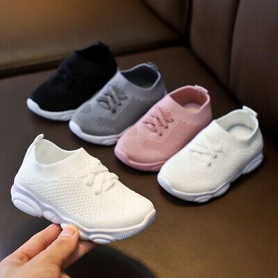 Kids Knitted Lightweight Mesh Sneakers Running Trainers Boys Girls Sport Shoes