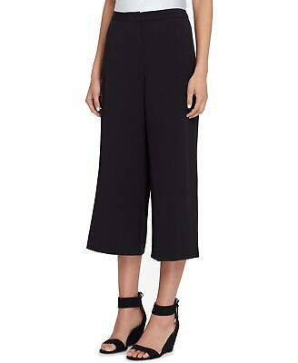 Tahari by ASL Women's Pants Black Size 16P Petite Stretch Cropped Wide $89 #423