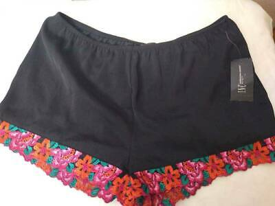 International Concepts Womens Sleep Shorts Black Floral Lace Elastic Waist S New